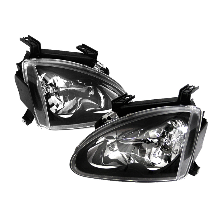 Honda Del Sol 1993-1997 Black Euro Crystal Headlights