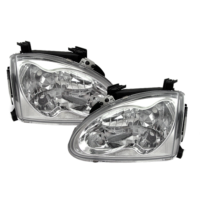 Honda Del Sol 1993-1997 Chrome Euro Crystal Headlights