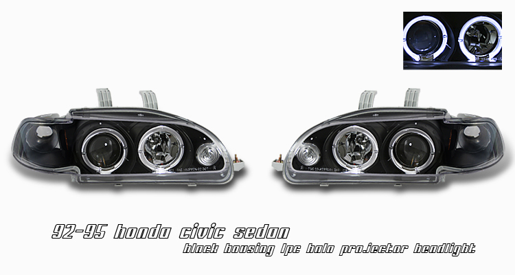 Honda Civic 1992-1995 4dr Black 1pc W/halo Projector Headlights