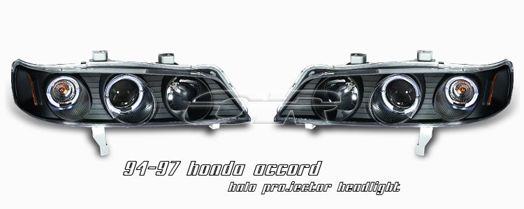 Honda Accord 1994-1997  Black 1pc W/halo Projector Headlights
