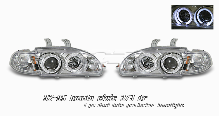 Honda Civic 1992-1995 2/3dr Chrome 1pc W/halo Projector Headlights