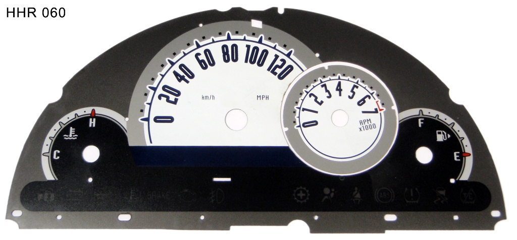 Chevrolet Hhr 2006-2009  White / Blue Night Performance Dash Gauges