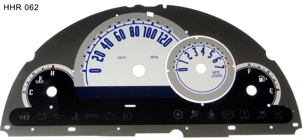 Chevrolet Hhr 2006-2009  Silver / Blue Night Performance Dash Gauges