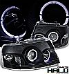 2003 Ford Expedition   D-Halo Projector Headlights - Black Housing Clear Lens