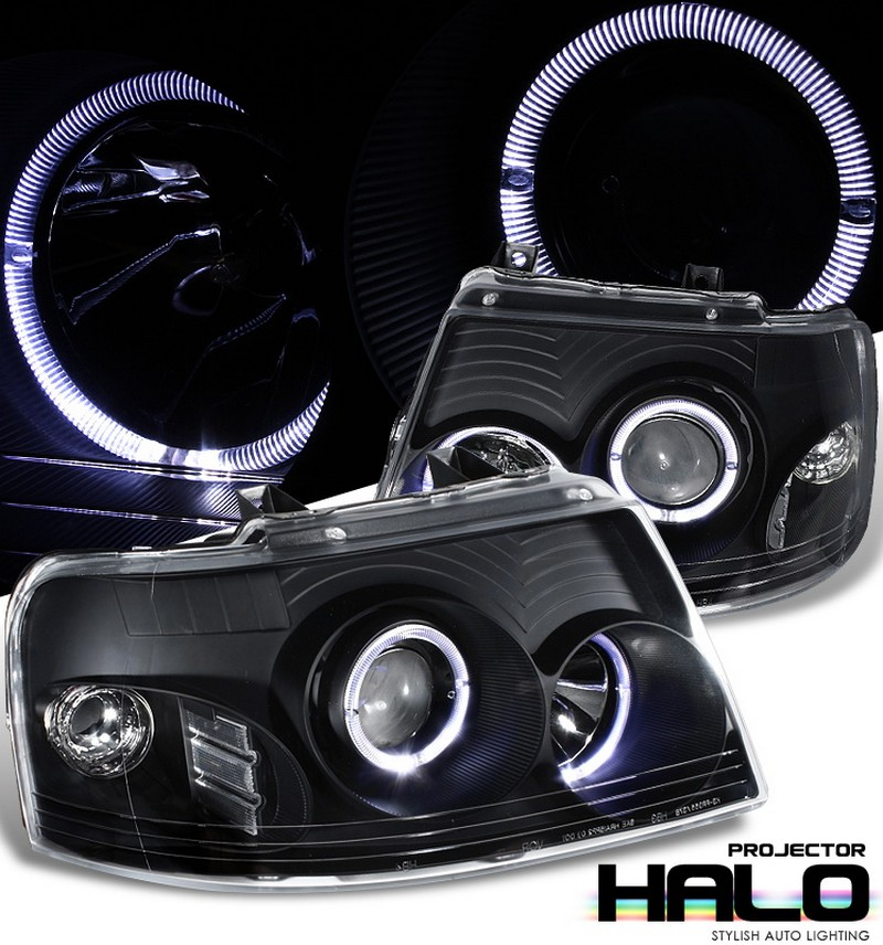 Ford Expedition  2003-2006 D-Halo Projector Headlights - Black Housing Clear Lens