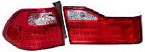 Honda Accord Sedan 01-02 Red and Clear TYC Euro Tail Lights