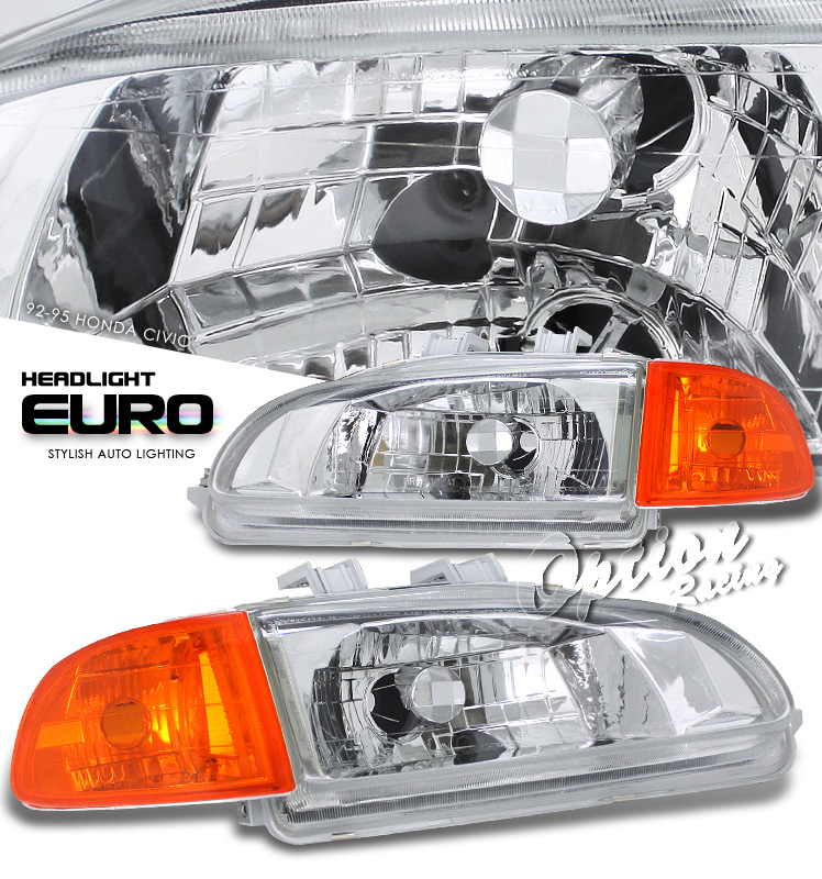 Honda Civic 1992-1995 2/3dr Black W/amber E. Corner Euro Crystal Headlights