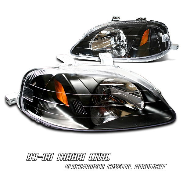 Honda Civic 1999-2000  Black/amber Euro Crystal Headlights