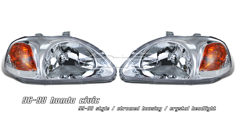 Honda Civic 1996-1998  Chrome Crystal / 99-00 Style Euro Crystal Headlights