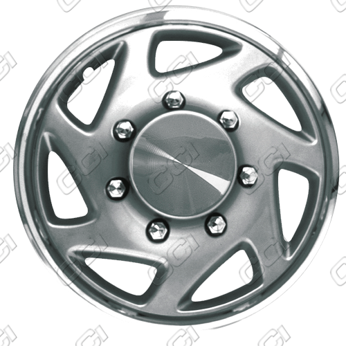"Ford E-Series  1996-2012, 16"" Silver W/ Chrome Ring Wheel Covers"