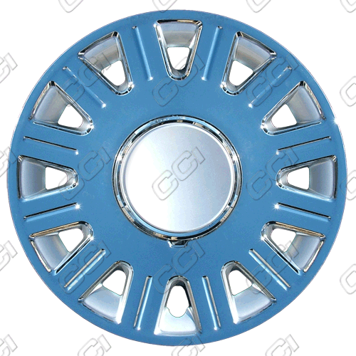 "Ford Crown Victoria  2003-2010, 16"" 12 Spoke Chrome / Silver Wheel Covers"