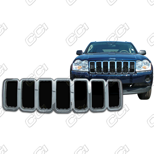 Jeep Grand Cherokee Laredo 2005-2007 Chrome Front Grille Overlay