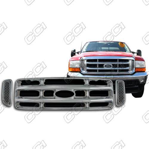 Ford Super Duty Xl, Xlt, Lariat 1999-2004 Chrome Front Grille Overlay