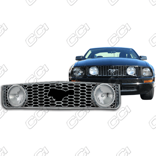 Ford Mustang V6 2005-2009 Chrome Front Grille Overlay