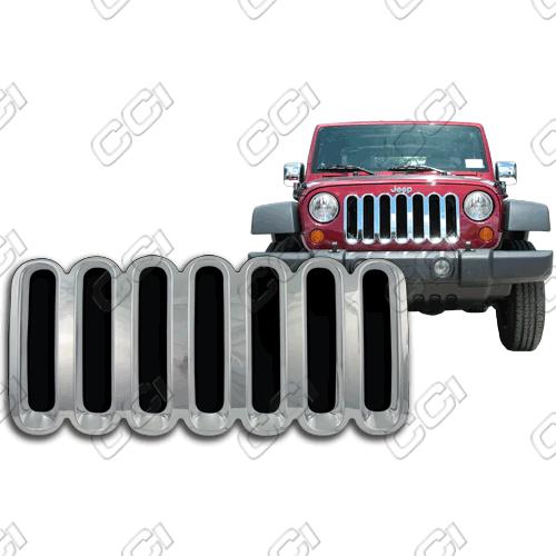 Jeep Wrangler X, Sahara, Rubicon 2007-2013 Chrome Front Grille Overlay