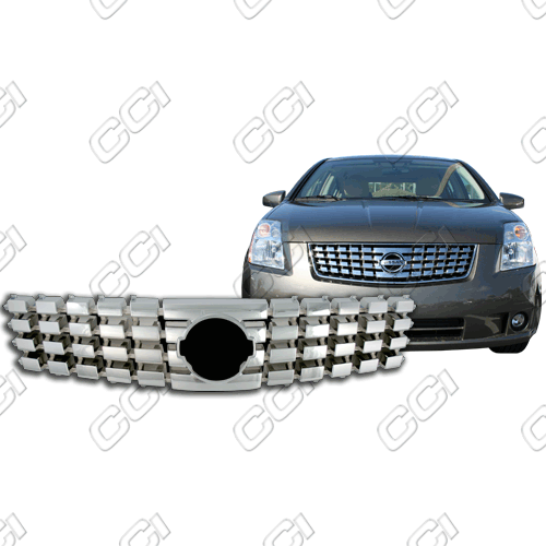 Nissan Sentra  2007-2009 Chrome Front Grille Overlay