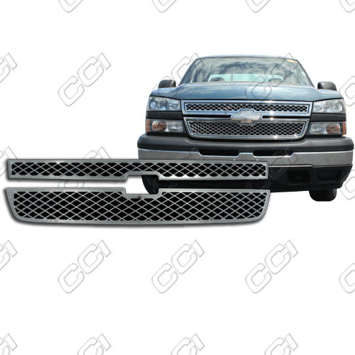 Chevrolet Silverado Lt, Crew, Ext 2006-2007 Chrome Front Grille Overlay