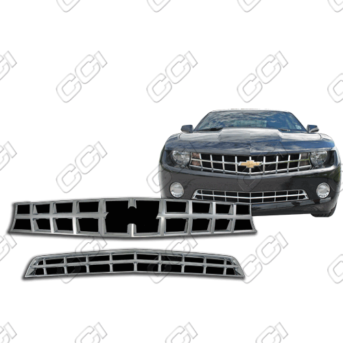 Chevrolet Camaro SS 2010-2013 Chrome Front Grille Overlay Top And Bottom
