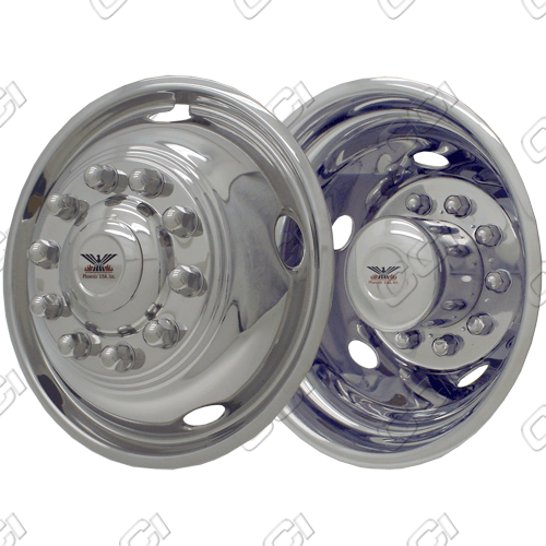 "Ford Super Duty F450/550 2005-2012 Chrome Wheel Simulators (19.5"" 10 Lugs)"