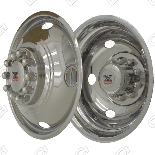 "Chevrolet Silverado 3500 Hd/Rv 1973-2010 Chrome Wheel Simulators (19.5"" 5 Lug Front / 10 Lug Rear)"