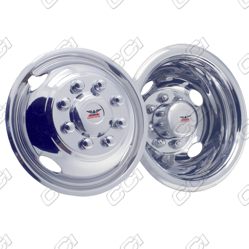 "Gmc Sierra 4500 1990-2010 Chrome Wheel Simulators (19.5"" 8 Lugs 6.75 Inch Wide Wheel)"