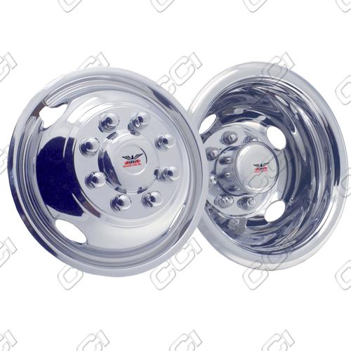 "Gmc Sierra 4500 1990-2010 Chrome Wheel Simulators (19.5"" 8 Lugs 6.75 Inch Wide Wheel)"