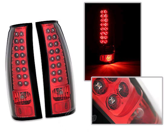 Cadillac Escalade 01-02 LED Tail Lights Red/Chrome