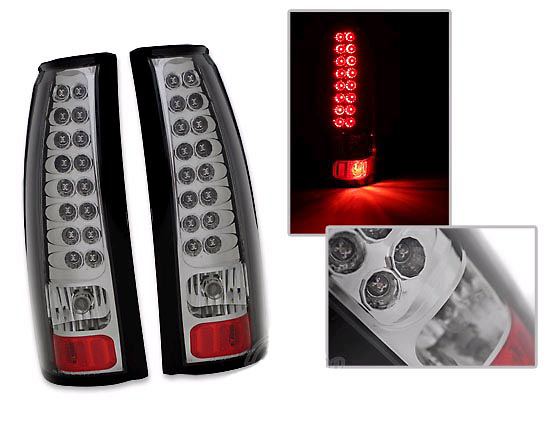 Cadillac Escalade 01-02 LED Tail Lights Chrome/Smoked Lens