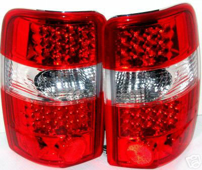Chevrolet Surburban 2000-2004 LED Tail Lights Red/Chrome