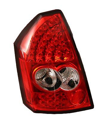 Chrysler 300 2005-2007 Chrome Housing, Red Lens LED Tail Lights