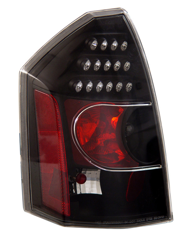 Chrysler 300 2005-2007 Black Housing Clear Lens LED Tail Lights