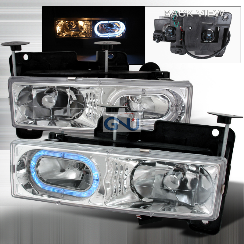 Chevrolet Full Size Pickup 1988-1998 Chrome Euro Headlights