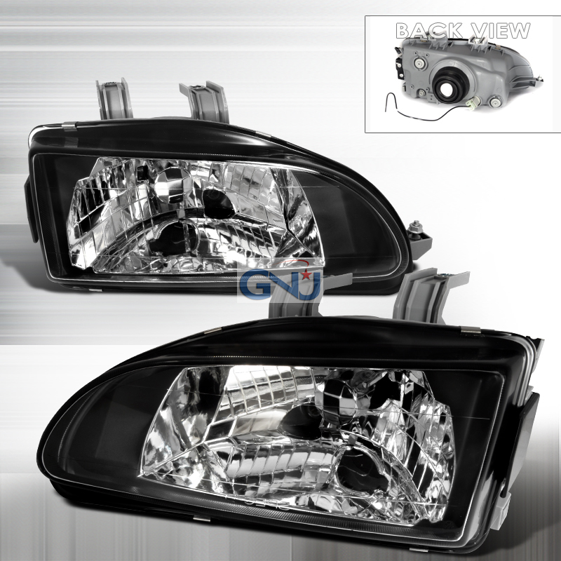 Honda Civic 1992-1995 Black Euro Headlights