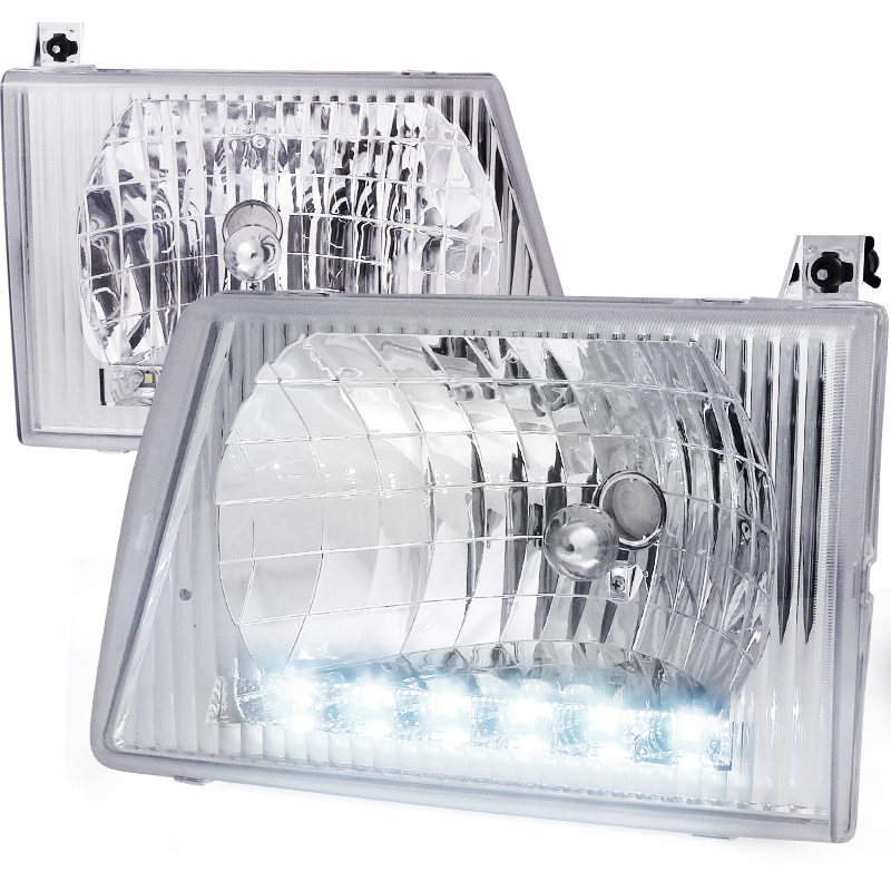 Ford Econoline 1992-2006 Chrome Euro Headlights With LED'S