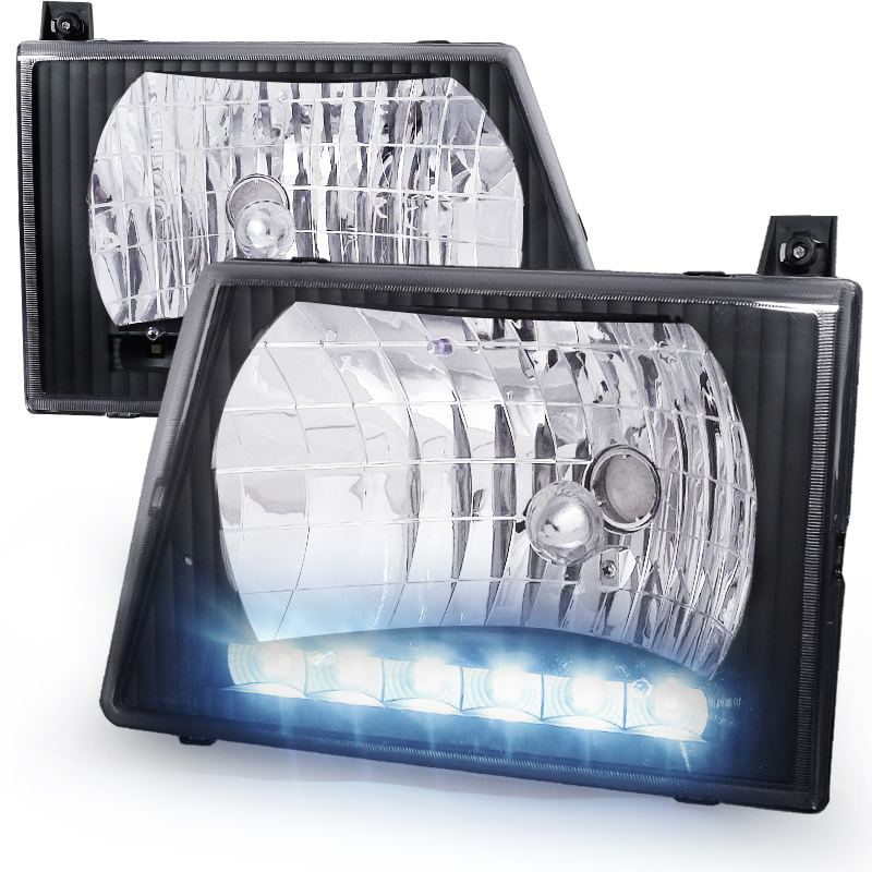 Ford Econoline 1992-2006 Black Euro Headlights With LED'S