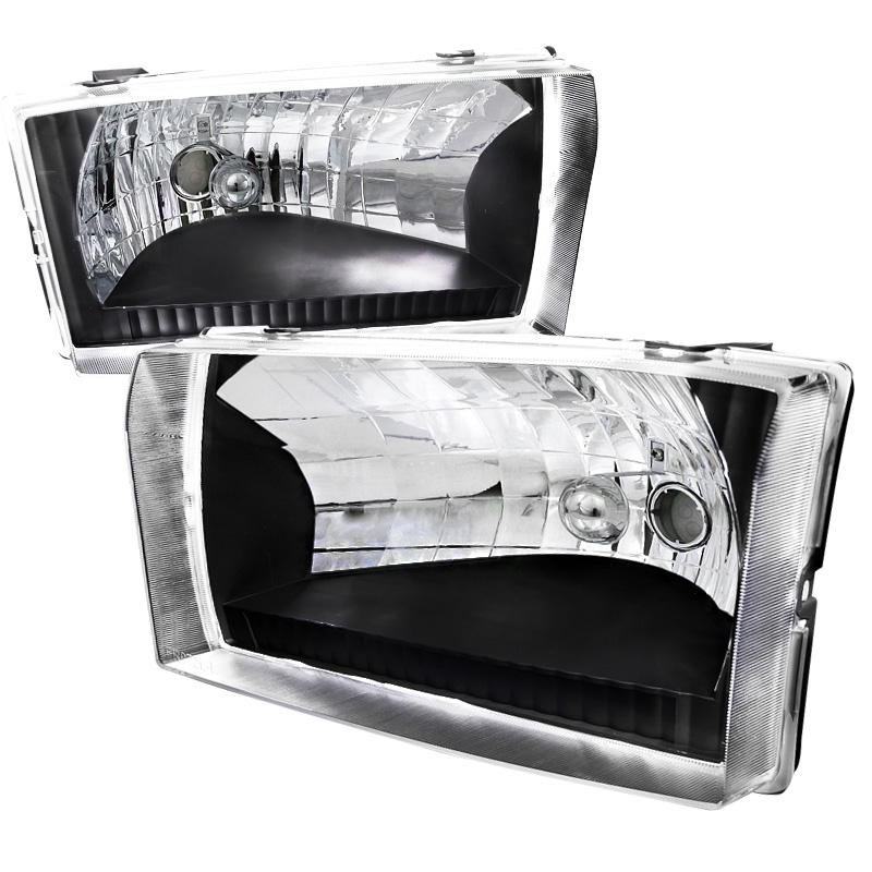 Ford Super Duty 1999-2004 Black Euro Headlights