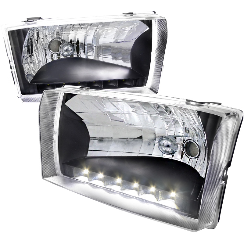 Ford Super Duty 1999-2004 Black Euro Headlights With LED'S