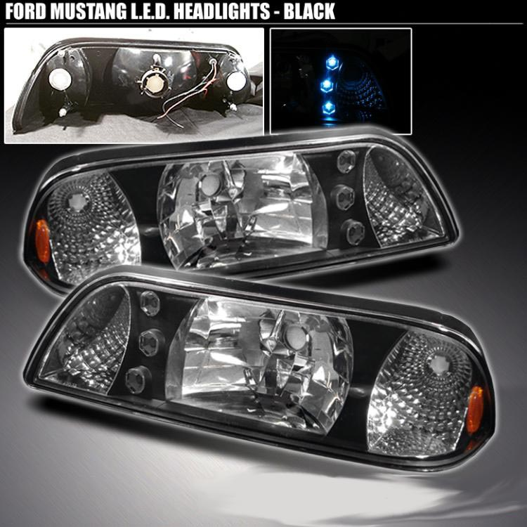 Ford Mustang 87-93 Black One-Piece Conversion Headlights