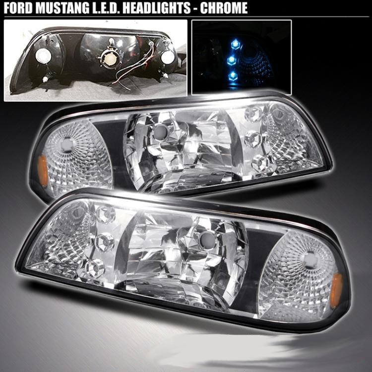 Ford Mustang 87-93 Chrome One-Piece Conversion Headlights