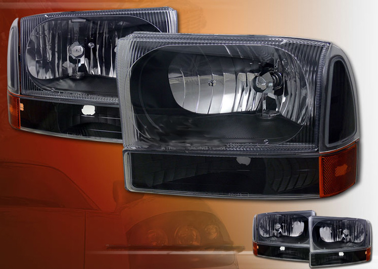 Ford F250 F350 Superduty 1999-2003 Headlights And Corner Lights (Black)