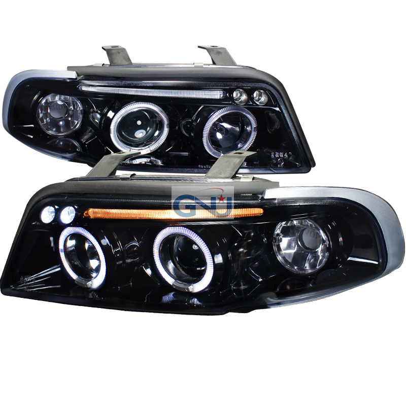 Audi A4  1996-1999 Gloss Black  Projector Headlights Smoke Lens