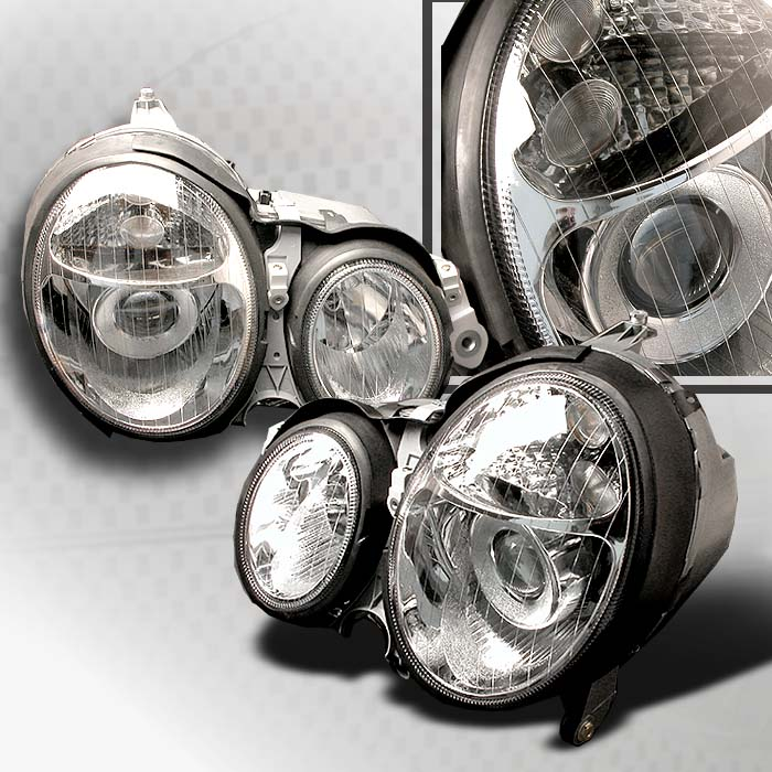 Mercedes Benz E-Class W210 2000-2002 Chrome Halo Projector Headlights