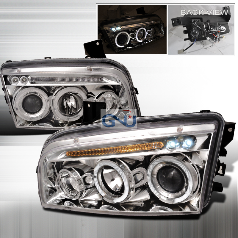 Dodge Charger  2005-2010 Chrome Halo Projector Headlights  W/LED'S
