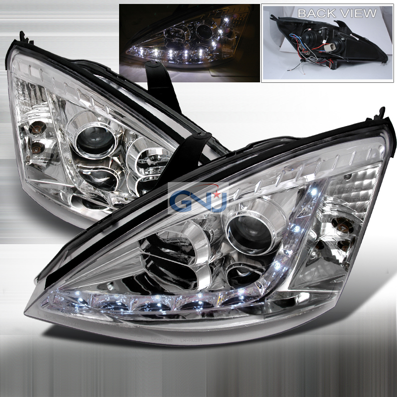 Ford Focus 2000-2004 R8 Style Halo LED  Projector Headlights - Chrome