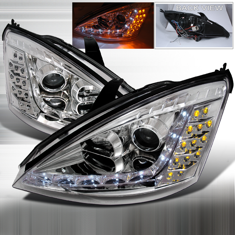 Ford Focus 2000-2004 R8 Style (Version 2) Chrome Housing Projector Headlights