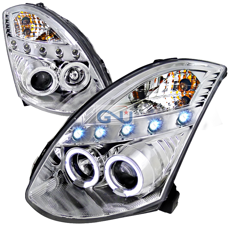 Infiniti G35 2 Door 2003-2005 Chrome  Projector Headlights