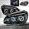 Volkswagen Jetta  2006-2008 Black Halo Projector Headlights  W/LED'S