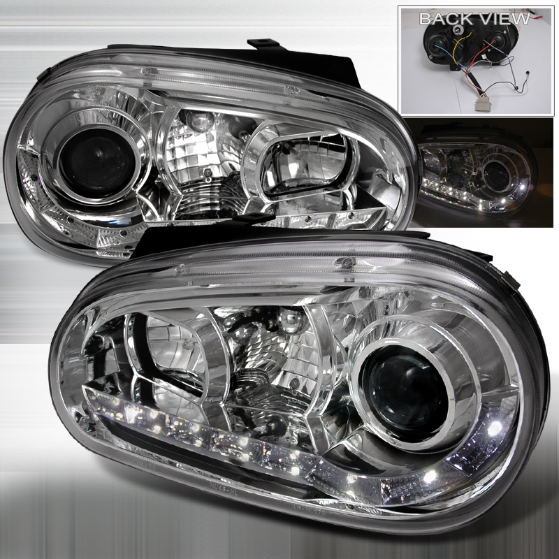 Volkswagen Golf  1999-2005 Chrome R8 Style Halo Projector Headlights  W/LED'S