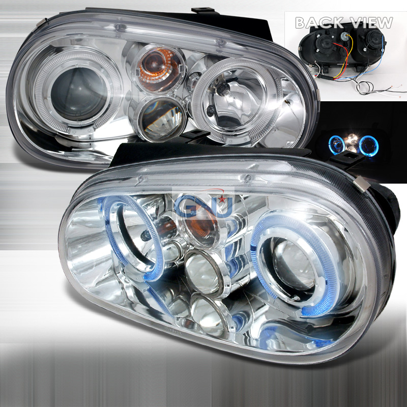 Volkswagen Golf  1999-2005 Chrome Halo Projector Headlights  W/LED'S