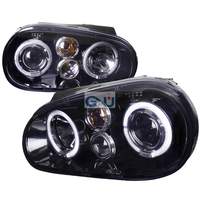 Volkswagen Golf  1999-2003 Gloss Black  Projector Headlights Smoke Lens